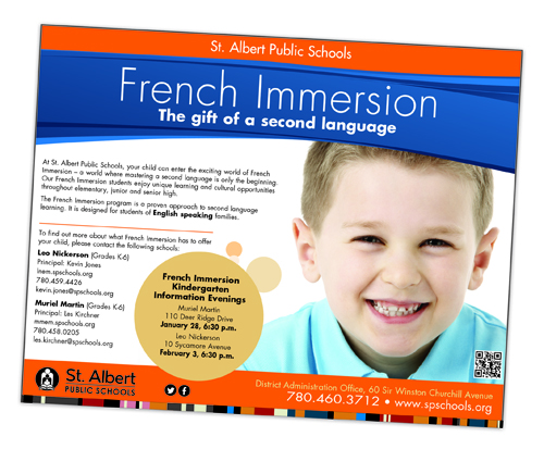 St. Albert Public Schools French Immersion Ad