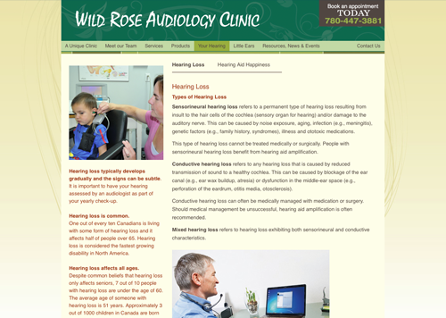 Wild Rose Audiology Clinic website